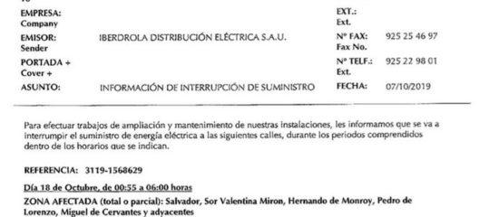 Cortes suministro eléctrico programados
