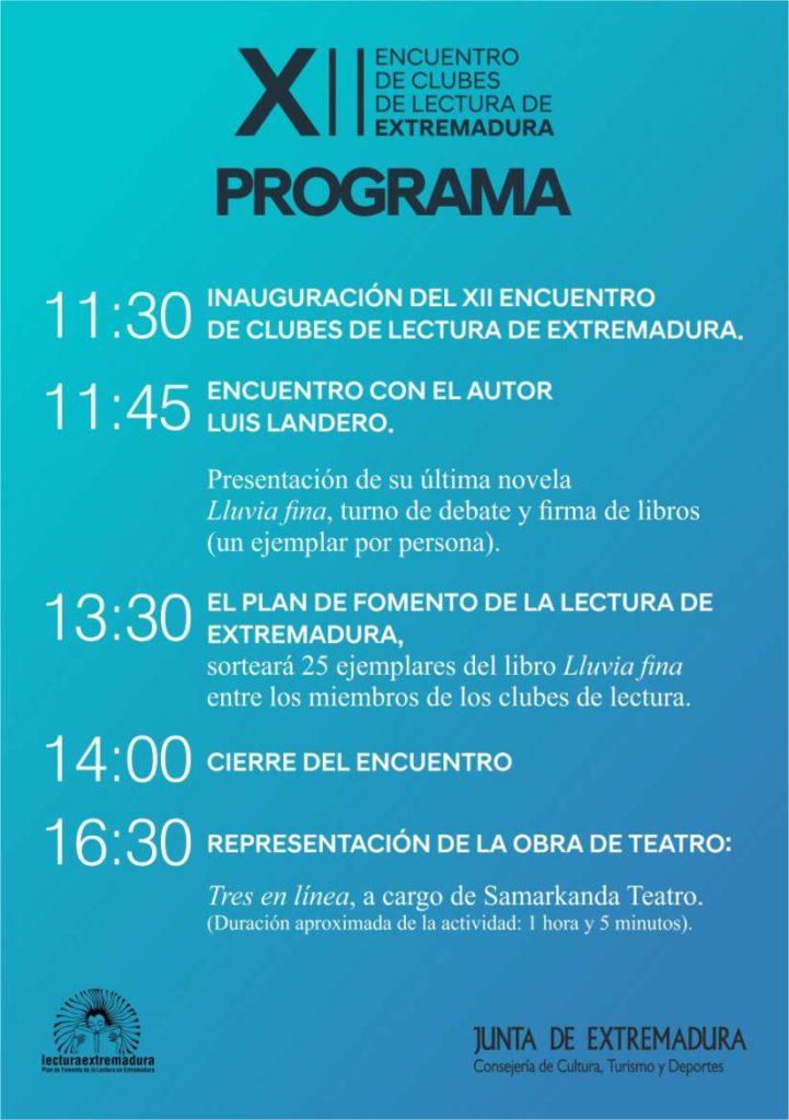 Programa del encuentro de clubes de lectura Plasencia