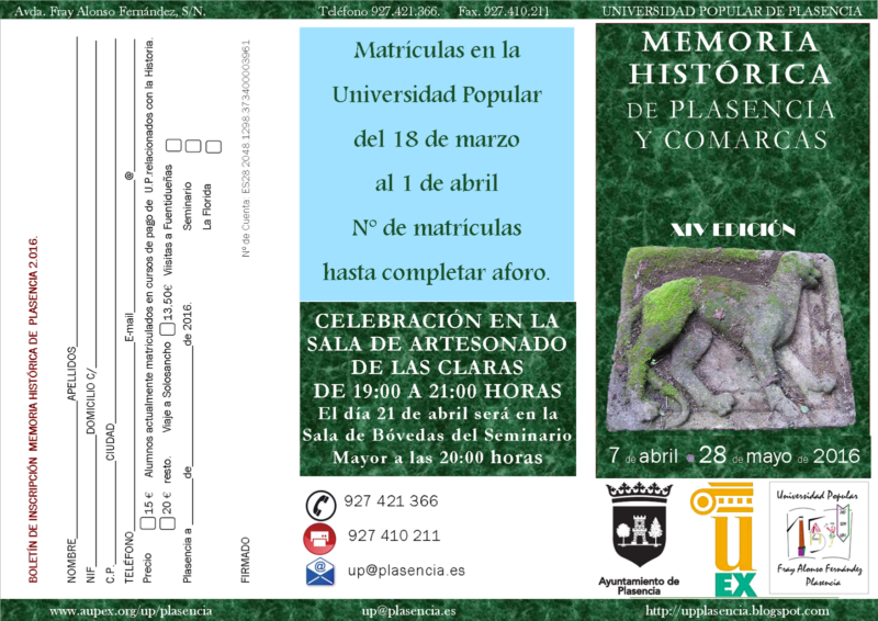 XIV Edición del curso de Memoria Histórica de Plasencia