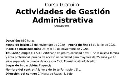 Curso 'Actividades de gestión administrativa'