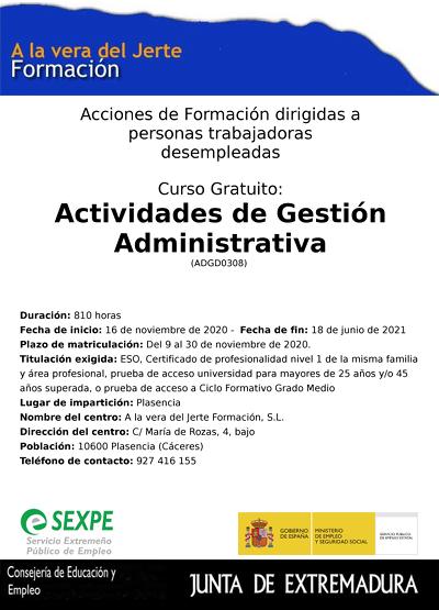 Curso Actividades de gestión administrativa Plasencia