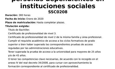 Curso Certificado de Profesionalidad en atención sociosanitaria a personas...