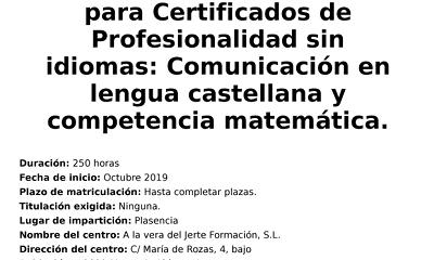 Curso de Competencias Clave para acceso a Certificados de Profesionalidad