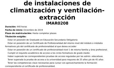 Curso 'Montaje y mantenimiento de instalaciones de climatización y...