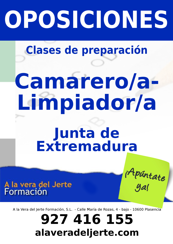 Preparación oposiciones Camarero/a-Limpiador/a Junta de Extremdura